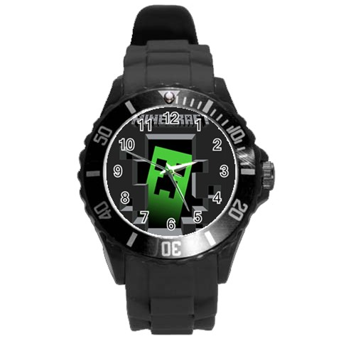 Minecraft Creeper Face 839 Watch Black Round Plastic
