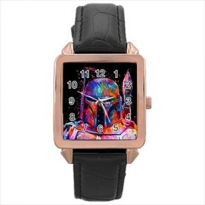 Star Wars Republic Commando #1370 Watch Rose Gold Leather Stainless Steel Wristwatch
