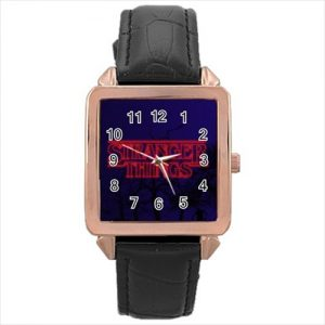 Stranger Things TV Series #13180 Watch Rose Gold Leather Stainless Steel Wristwatch