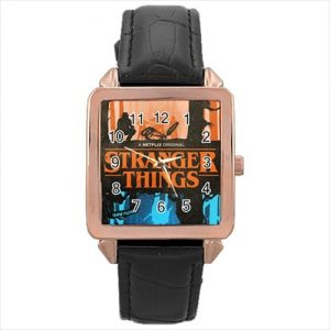 Stranger Things TV Series #13183 Watch Rose Gold Leather Stainless Steel Wristwatch