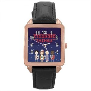 Stranger Things TV Series #13186 Watch Rose Gold Leather Stainless Steel Wristwatch