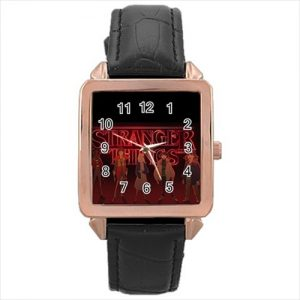 Stranger Things TV Series #13187 Watch Rose Gold Leather Stainless Steel Wristwatch